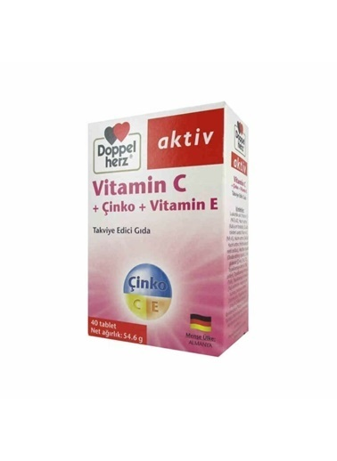 Doppler Doppel Herz Aktiv Vitamin C + Çinko + Vitamin E 40 Tablet Renksiz